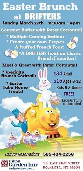 Easter Dinner Rochester Ny  Family Easter Brunch at Drifters Hilton Garden Inn