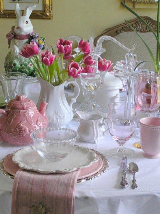 Easter Dinner Table Settings  Lovely Pink & White Easter Dinner Table s