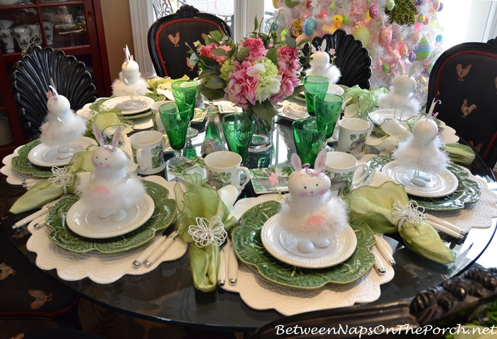 Easter Dinner Table Settings  Celebrate Spring With a Floral & Bunny Table Setting