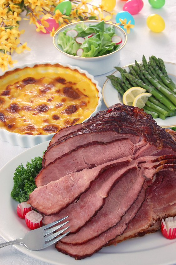 Easter Dinner Without Ham  Bourbon Glazed Ham and Creamy Sweet Potato Gratin for