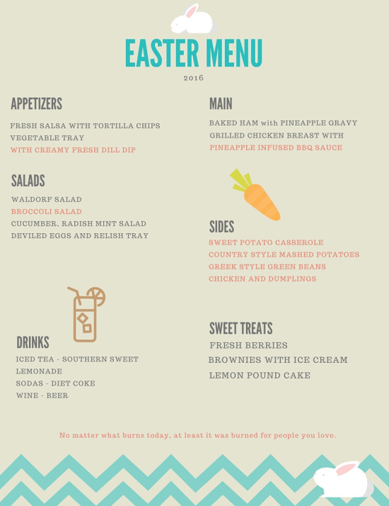 Easter Dinners Menu  Easter Menu Printable and My Non Traditional Easter Dinner