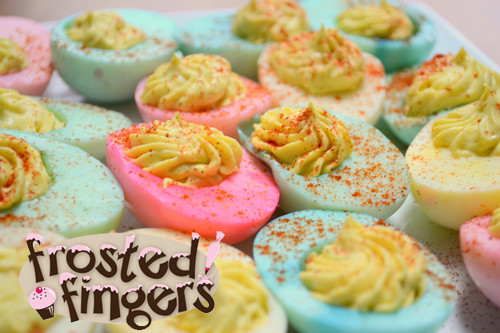 Easter Dyed Deviled Eggs  Easter Deviled Eggs Frosted Fingers