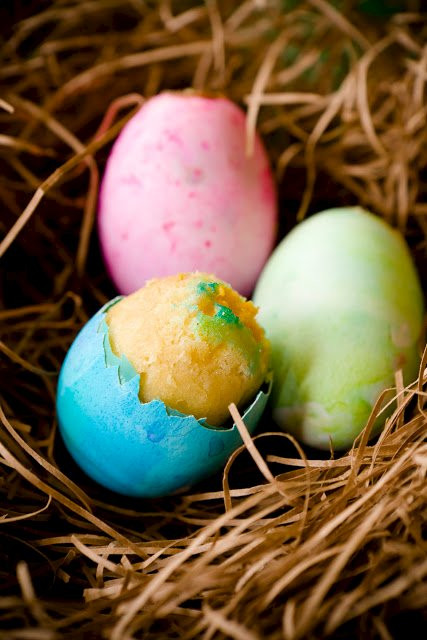 """Easter Egg Cupcakes  Easter Egg Cupcakes with """"Yolk"""" Centers"""