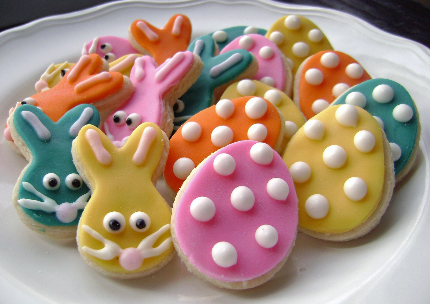 Easter Egg Sugar Cookies  Easter Egg and Bunny Sugar Cookies with Polka Dots Mini