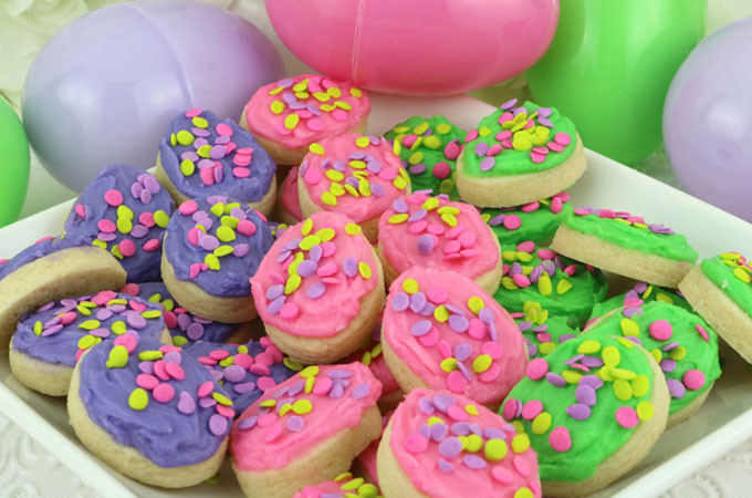 Easter Egg Sugar Cookies  Easter Egg Sugar Cookie Bites Two Sisters