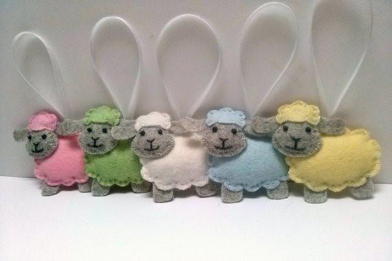 Easter Lamb Decorations  Felt Sheep ornament wool felt Lamb ornament pastel Easter