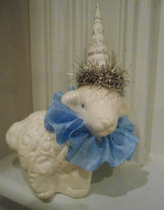 Easter Lamb Decorations  Glittered Easter Lamb Sheep Easter Table Decorations