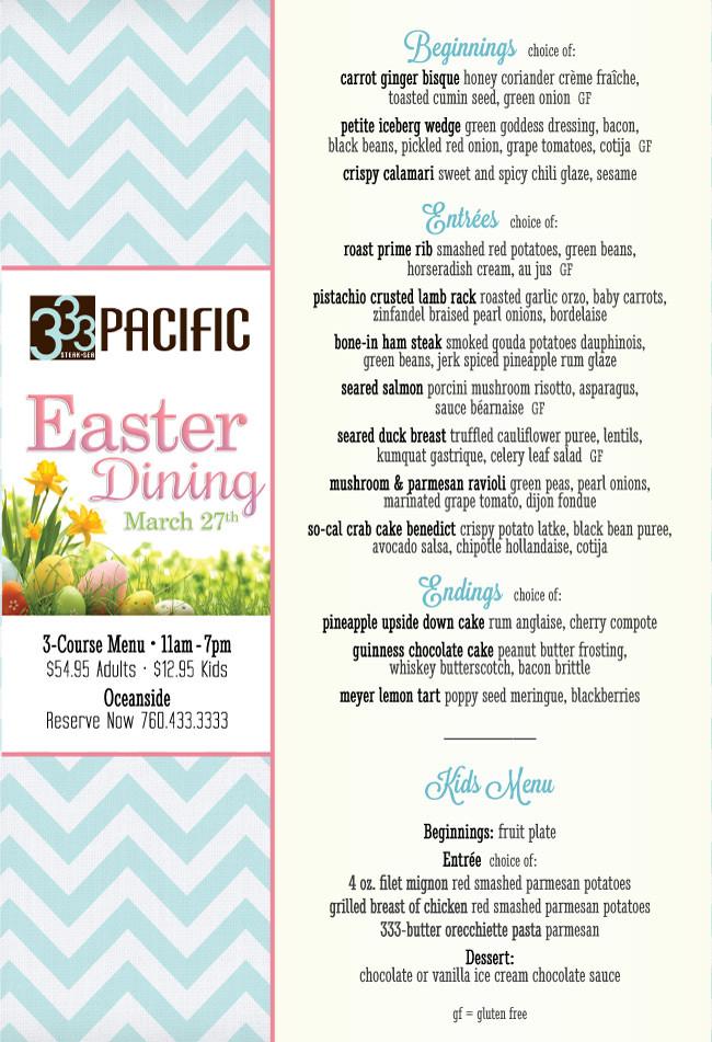 Easter Lamb Menu  3 Course Easter Menu at 333 Pacific Cohn Restaurant Group