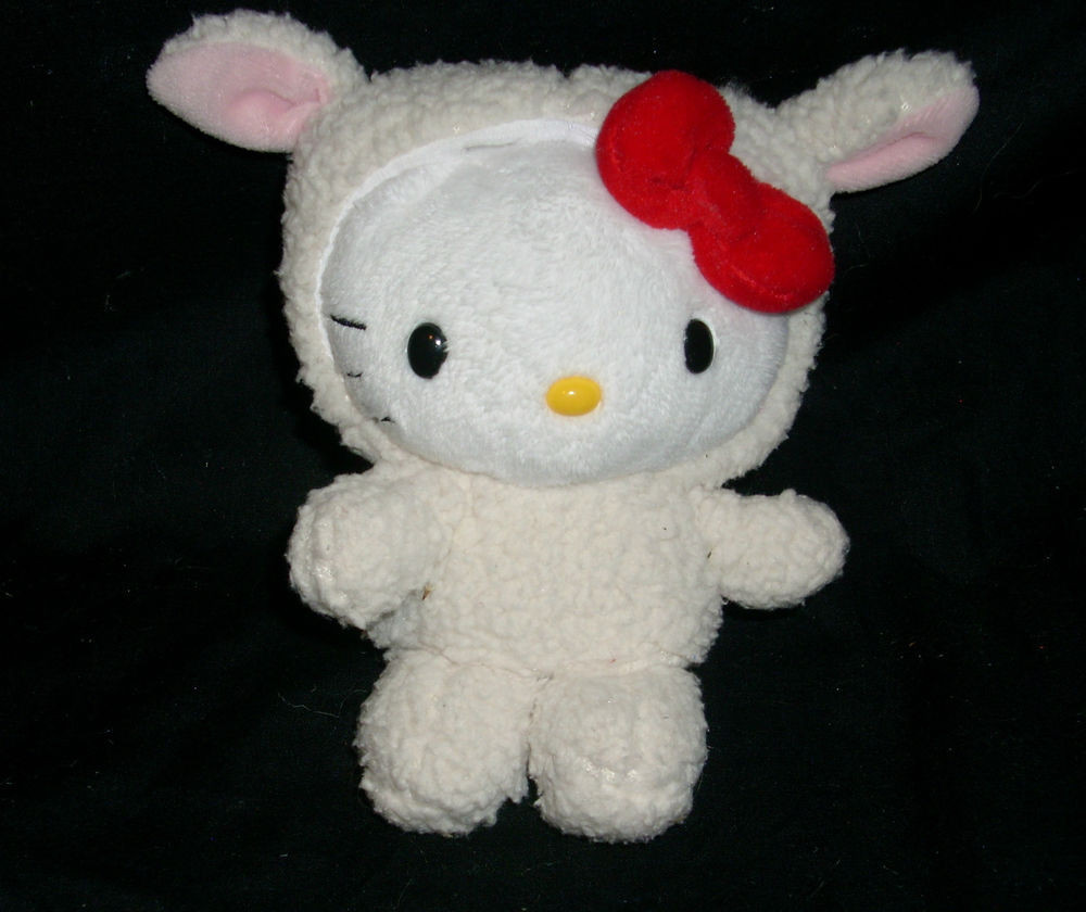 "Easter Lamb Stuffed Animal  6"" HELLO KITTY EASTER BABY LAMB SHEEP SANRIO DOLL STUFFED"