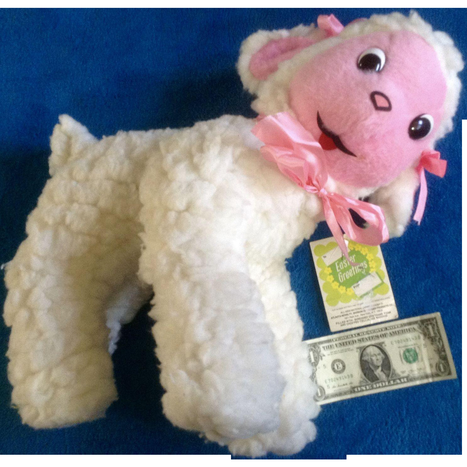 Easter Lamb Stuffed Animal  Vintage Gerber Atlanta Novelty Easter Lamb Stuffed