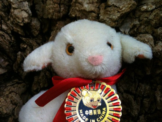 Easter Lamb Stuffed Animal  Plush Easter lamb toy vintage stuffed animal baby sheep
