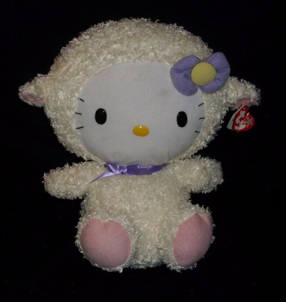 "Easter Lamb Stuffed Animal  12"" BIG BABY TY HELLO KITTY AS EASTER LAMB SHEEP STUFFED"