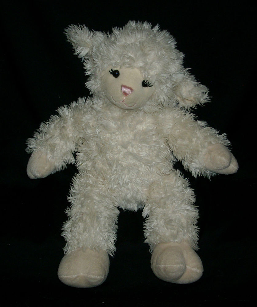 "Easter Lamb Stuffed Animal  16"" BIG BUILD A BEAR WHITE LAMB SHEEP EASTER STUFFED"