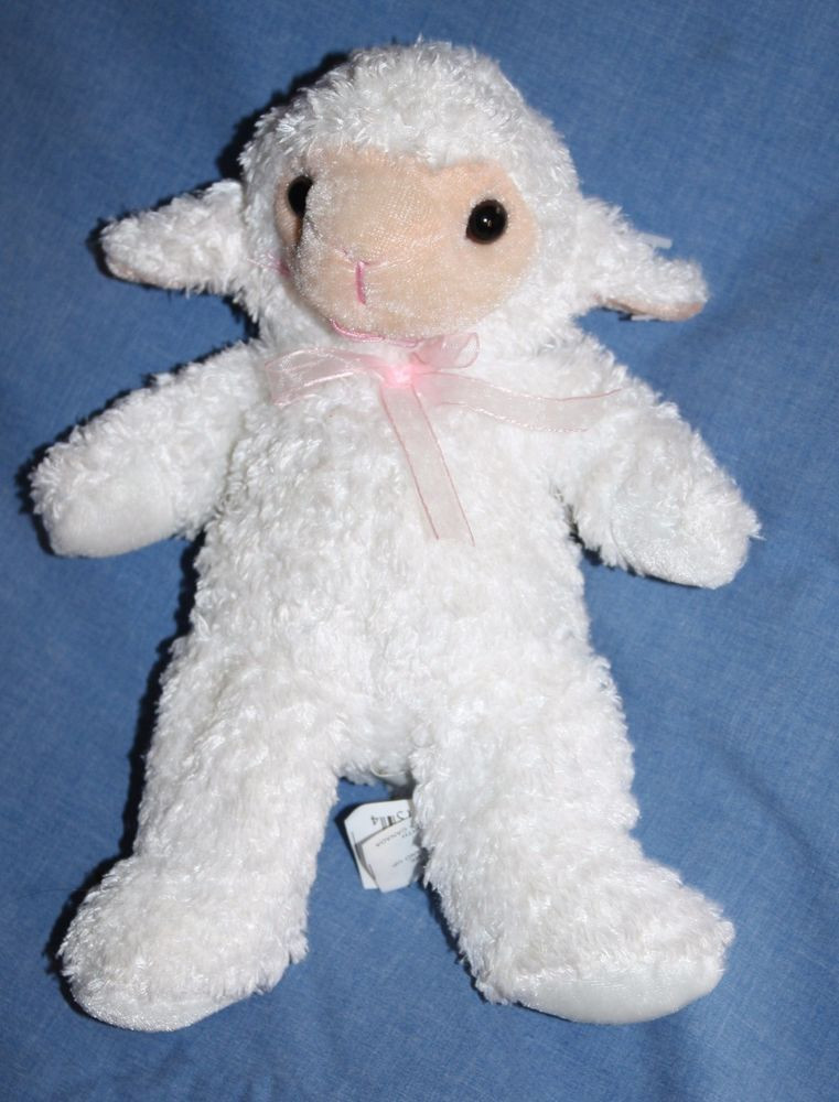 "Easter Lamb Stuffed Animal  Best Made Toys EASTER LAMB 9"" Soft White Plush Pink Bow"