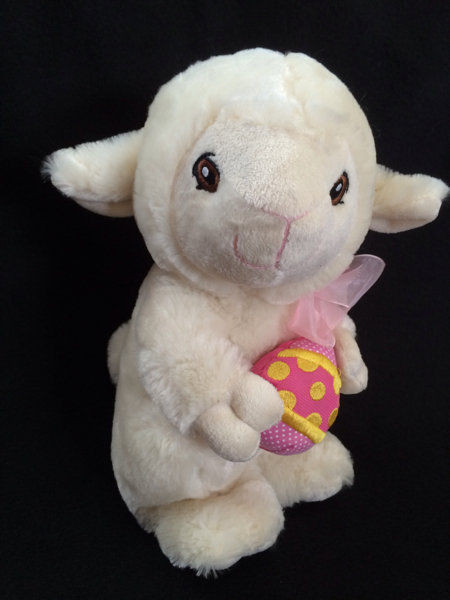 Easter Lamb Stuffed Animal  Kellytoy Cream Lamb Sheep Pink Bow Easter Egg Plush