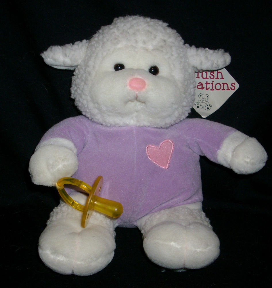 "Easter Lamb Stuffed Animal  12"" VINTAGE 1998 EASTER LAMB PLUSH CREATIONS STUFFED"