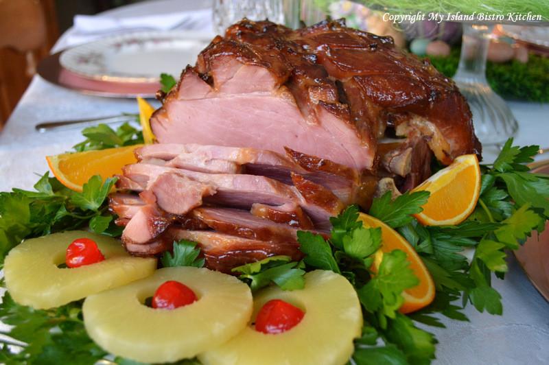 Easter Menu Ham  Baked Glazed Ham for Easter Dinner My Island Bistro Kitchen