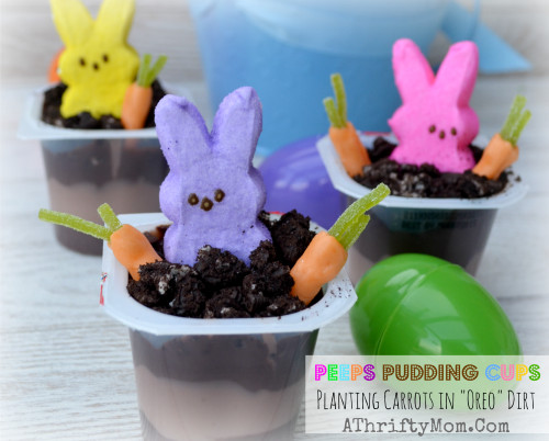 """Easter Pudding Desserts  Peeps Pudding Cups Planting Carrots In """"OREO"""" Dirt Easter"""