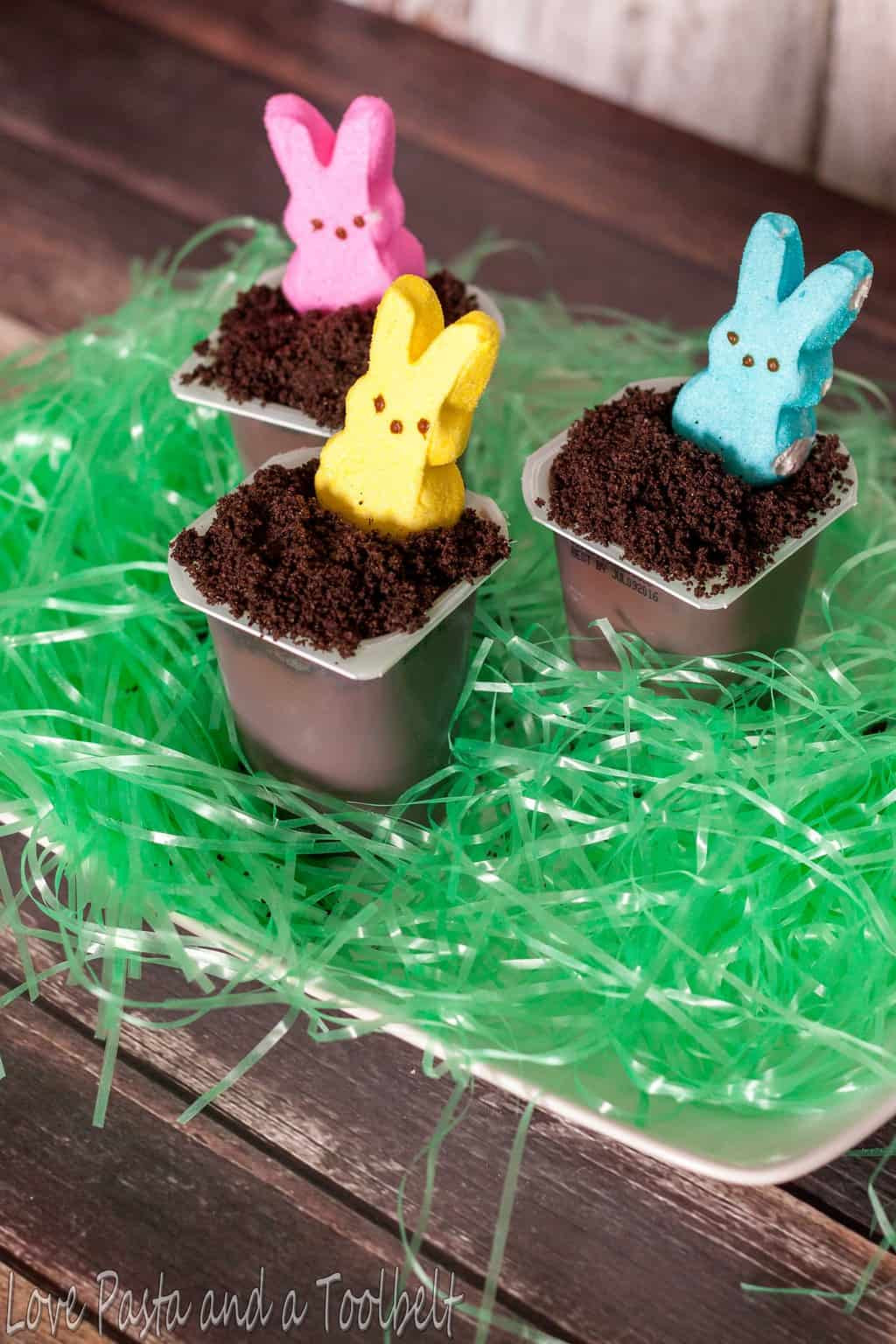 Easter Pudding Desserts  Easter Bunny Hole Pudding Cups Love Pasta and a Tool Belt