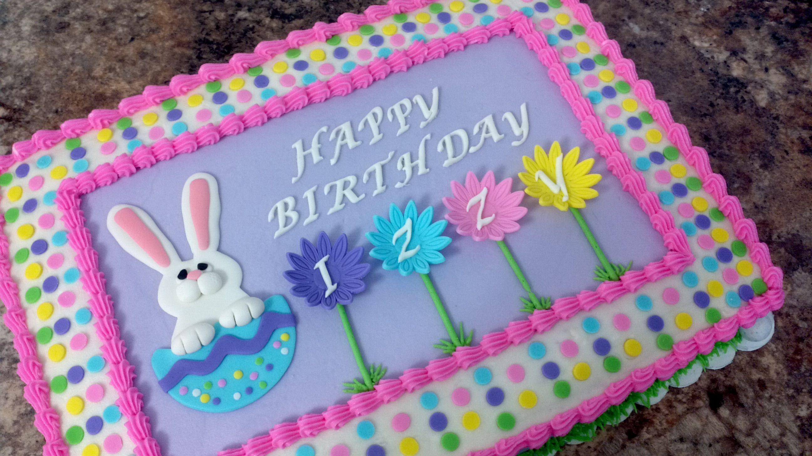 Easter Sheet Cake Ideas  Easter theme birthday cake 1 4 sheet covered in