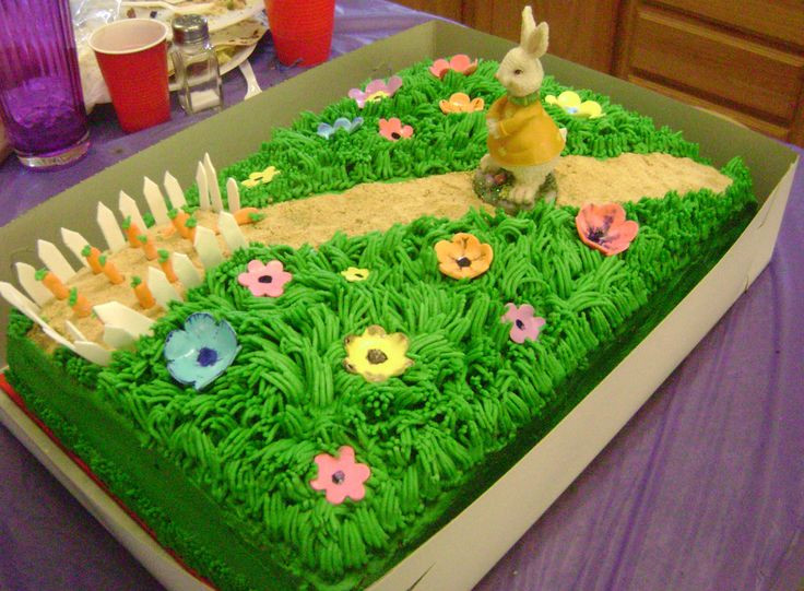 Easter Sheet Cake Ideas  peter rabbit 1 2 sheet cake with peter heading to his