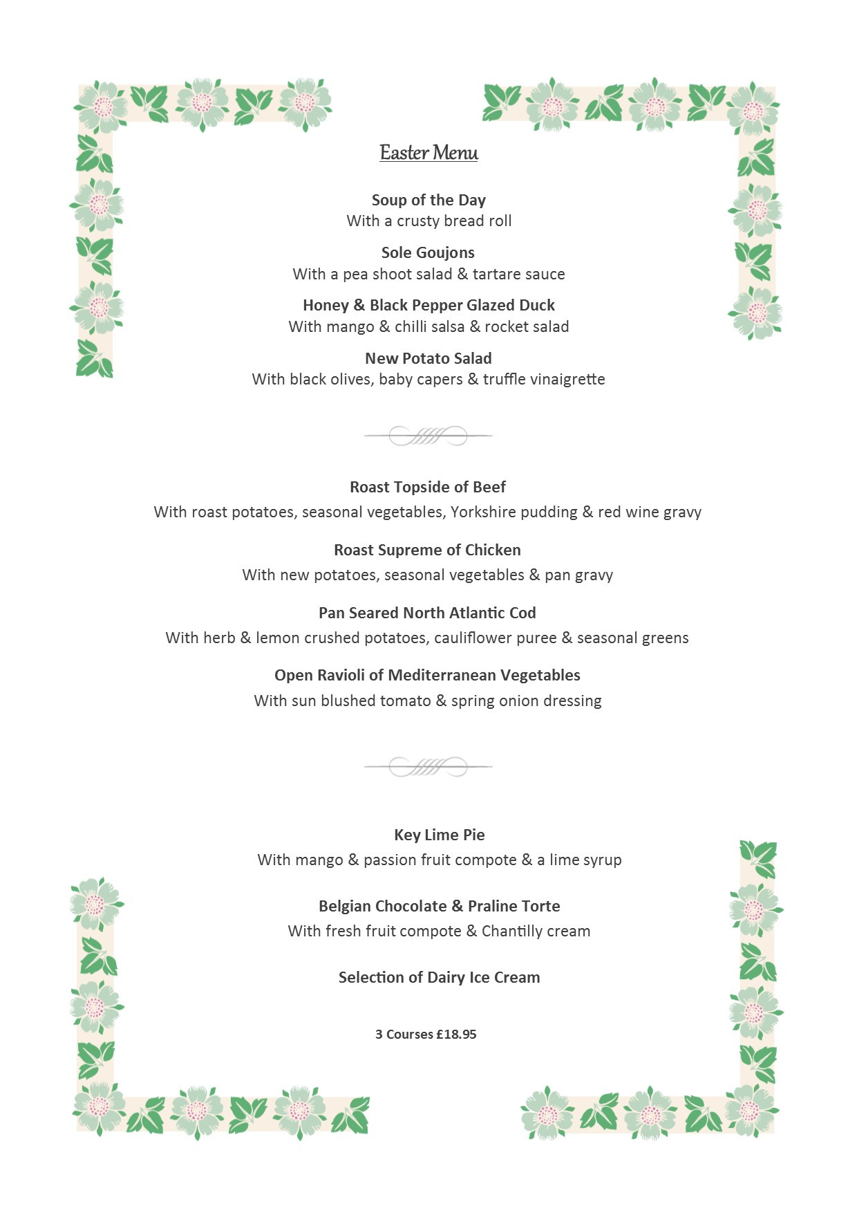 Easter Sunday Dinner Menu  Easter Sunday Menu 16 April 2017