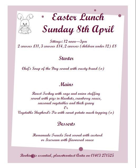 Easter Sunday Dinner Menu  Easter Sunday Lunch