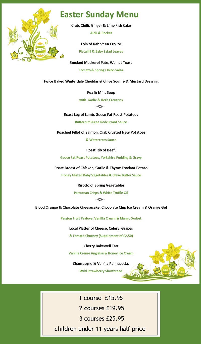 Easter Sunday Dinner Menu  Events at London Beach Tenterden Kent