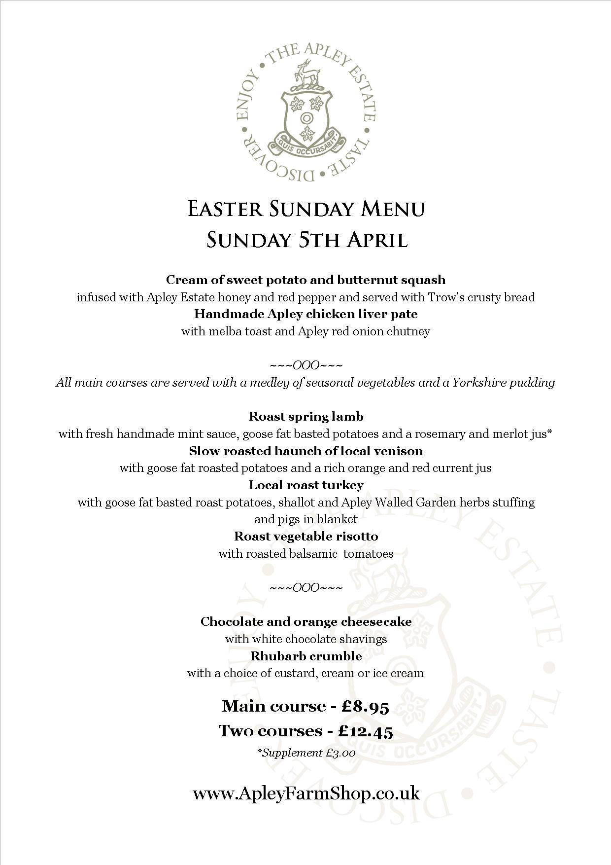 Easter Sunday Dinner Menu  Easter Sunday at Apley Farm Shop