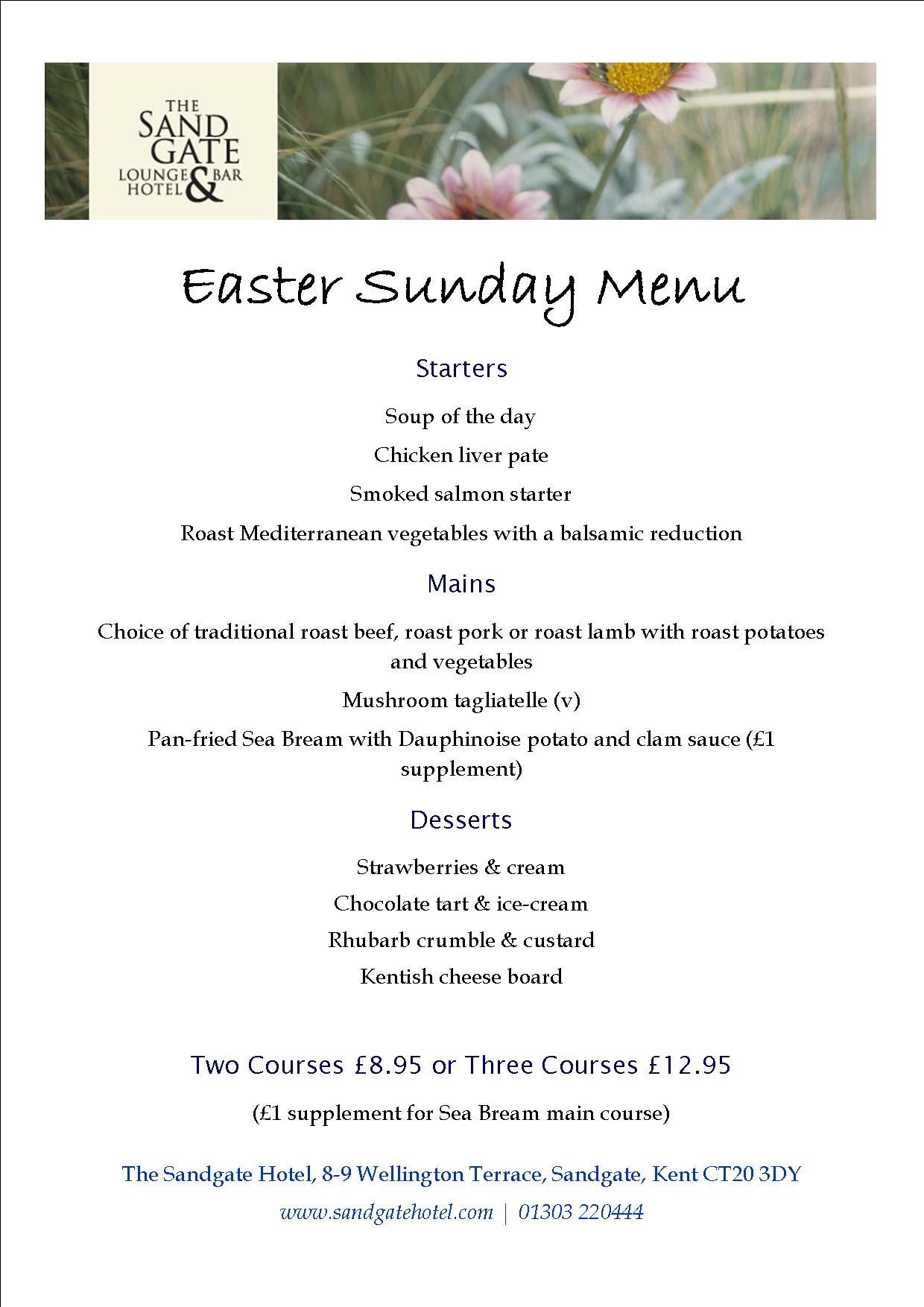 Easter Sunday Dinner Menu  Easter Sunday Menu – The Sandgate Hotel