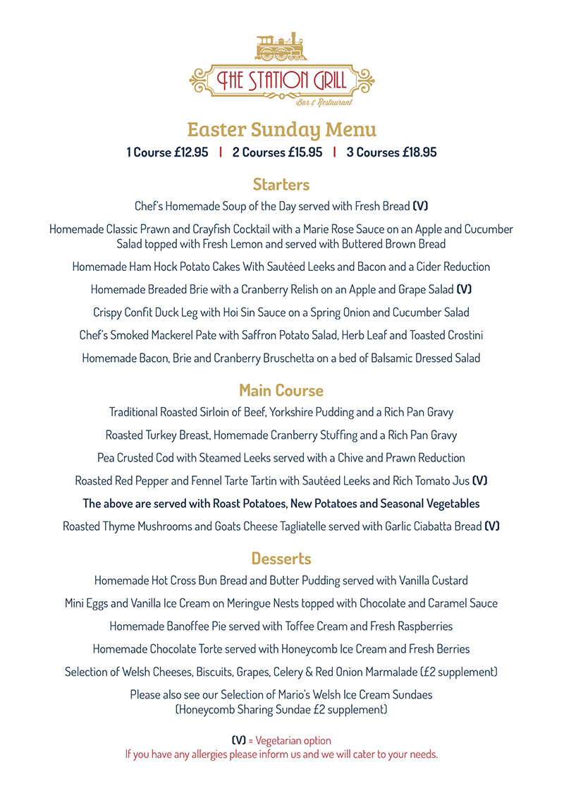 Easter Sunday Dinner Menu  Easter Sunday 2017 The Station Grill Restaurant