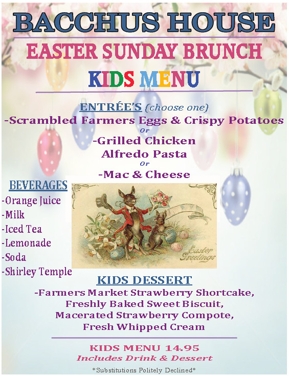 Easter Sunday Dinner Menu  Easter Sunday Champagne Brunch Bacchus House Wine Bar