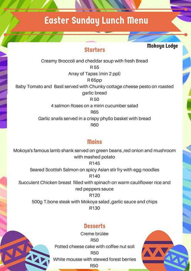 Easter Sunday Dinner Menu  Easter in Hartbeespoort – Stay Eat & Play