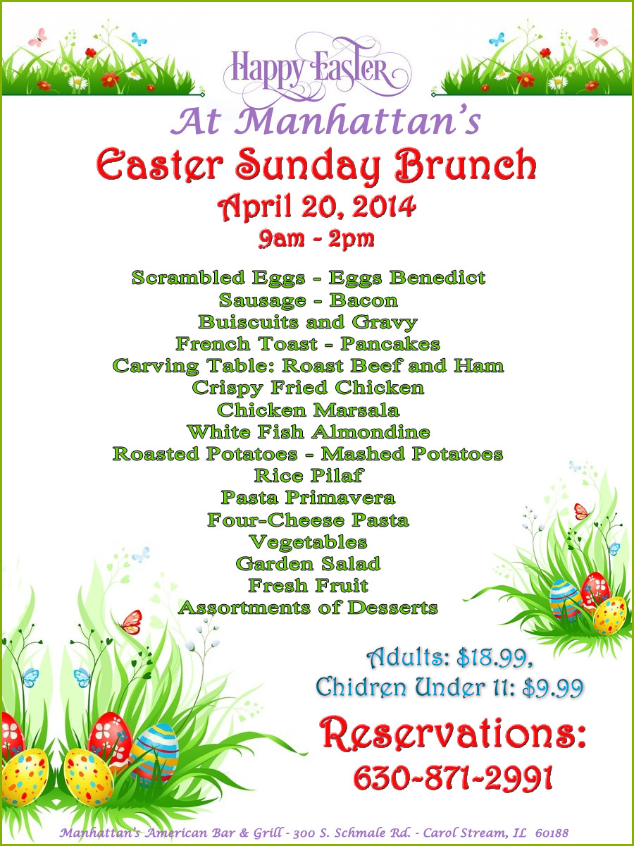 Easter Sunday Dinner Menu  Sunday Easter Brunch at Manhattan s Restaurant in Carol