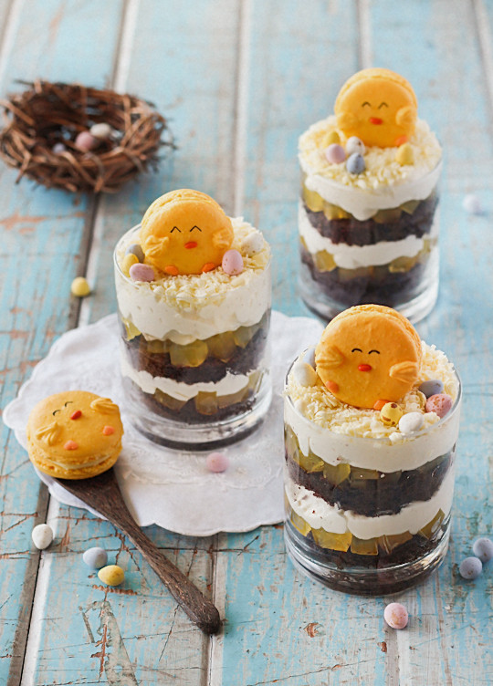 Easter Trifle Desserts  raspberri cupcakes Easter Trifles with Chick Macarons