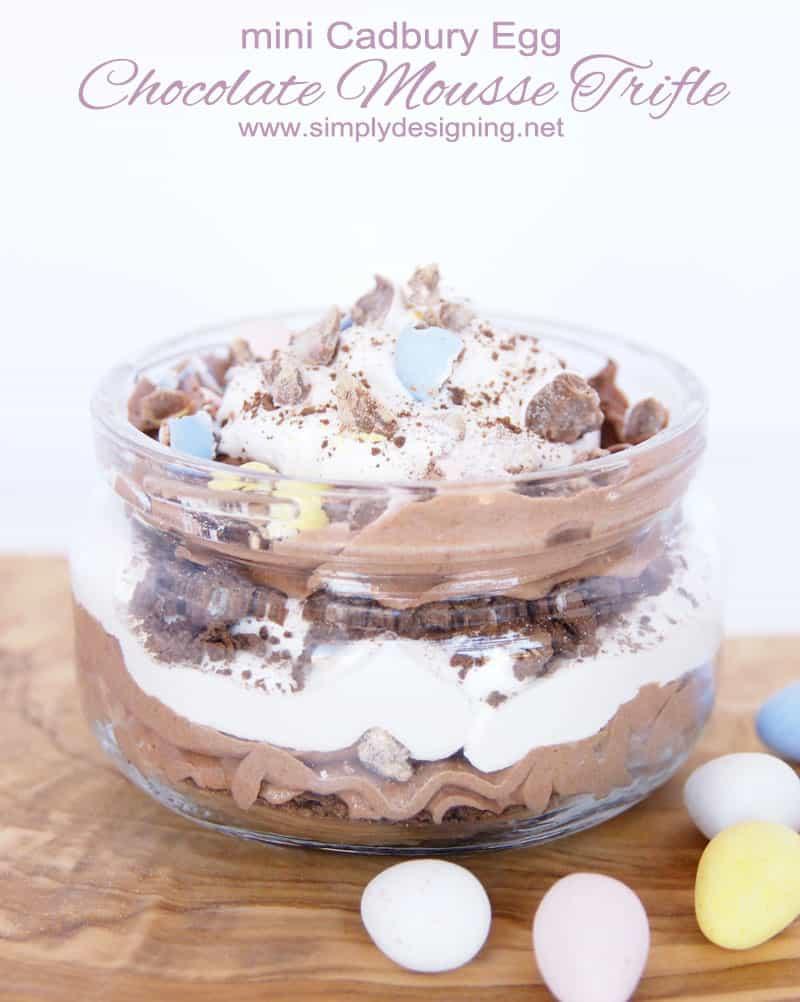 Easter Trifle Desserts  Mini Cadbury Egg Chocolate Mousse Trifle
