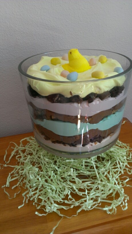 Easter Trifle Desserts  Easter Trifle layers of colored cool whip brownie pieces