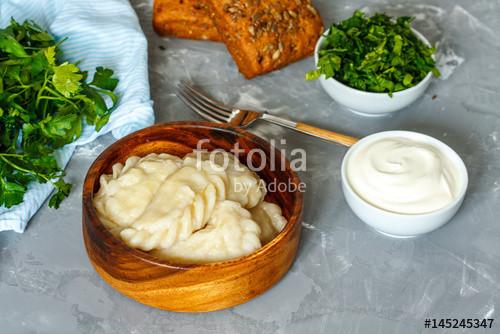 "Eastern European Dumplings  ""Cooked eastern european dumplings vareniki with sour"
