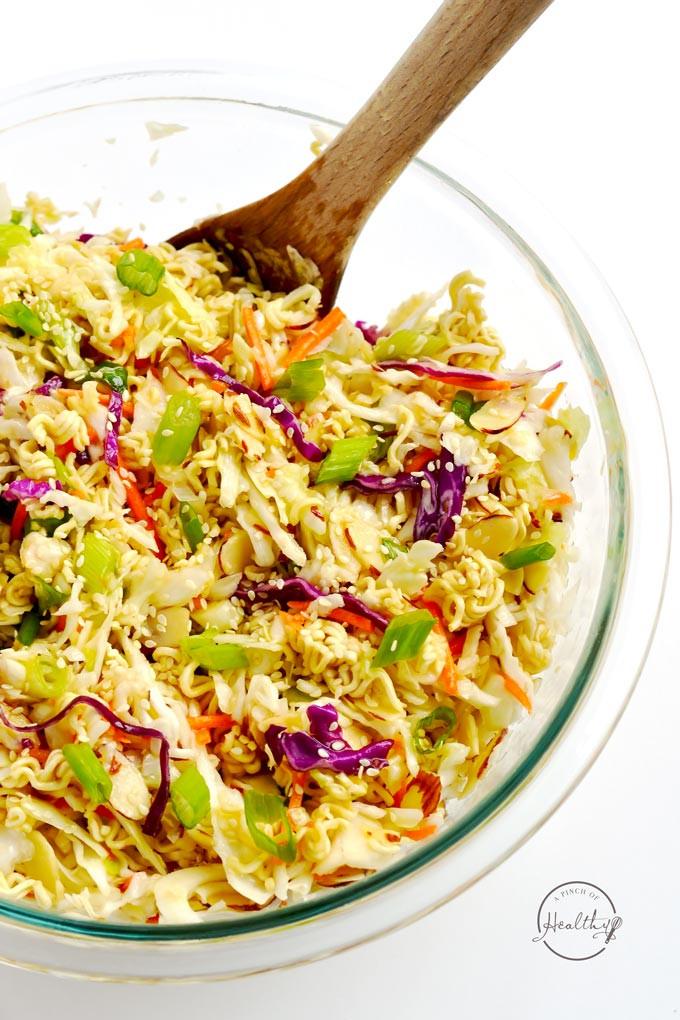 Easy Healthy Asian Recipes  Asian Ramen Slaw Easy 10 Minute Recipe A Pinch of Healthy