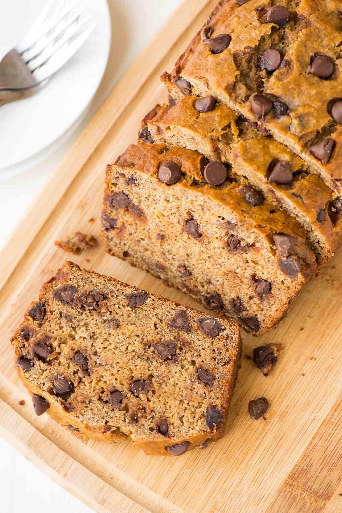Easy Healthy Banana Bread  Healthy Banana Bread Recipe with Chocolate Chips