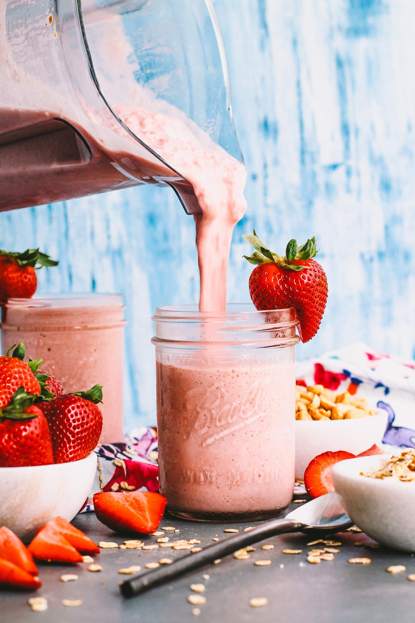 Easy Healthy Breakfast Smoothie  strawberry pb&j protein smoothies plays well with butter