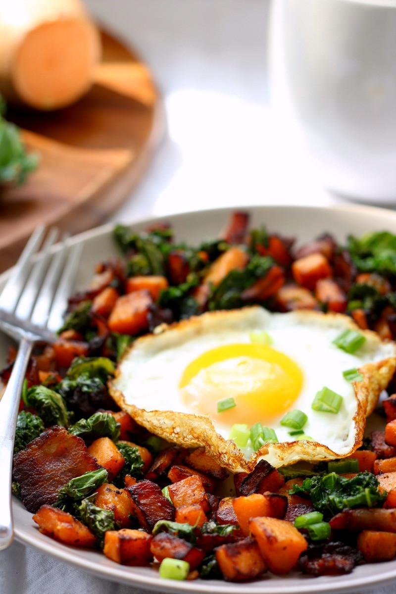 Easy Healthy Dinner For One  Sweet Potato Bacon Kale Hash For e Paleo & Whole30