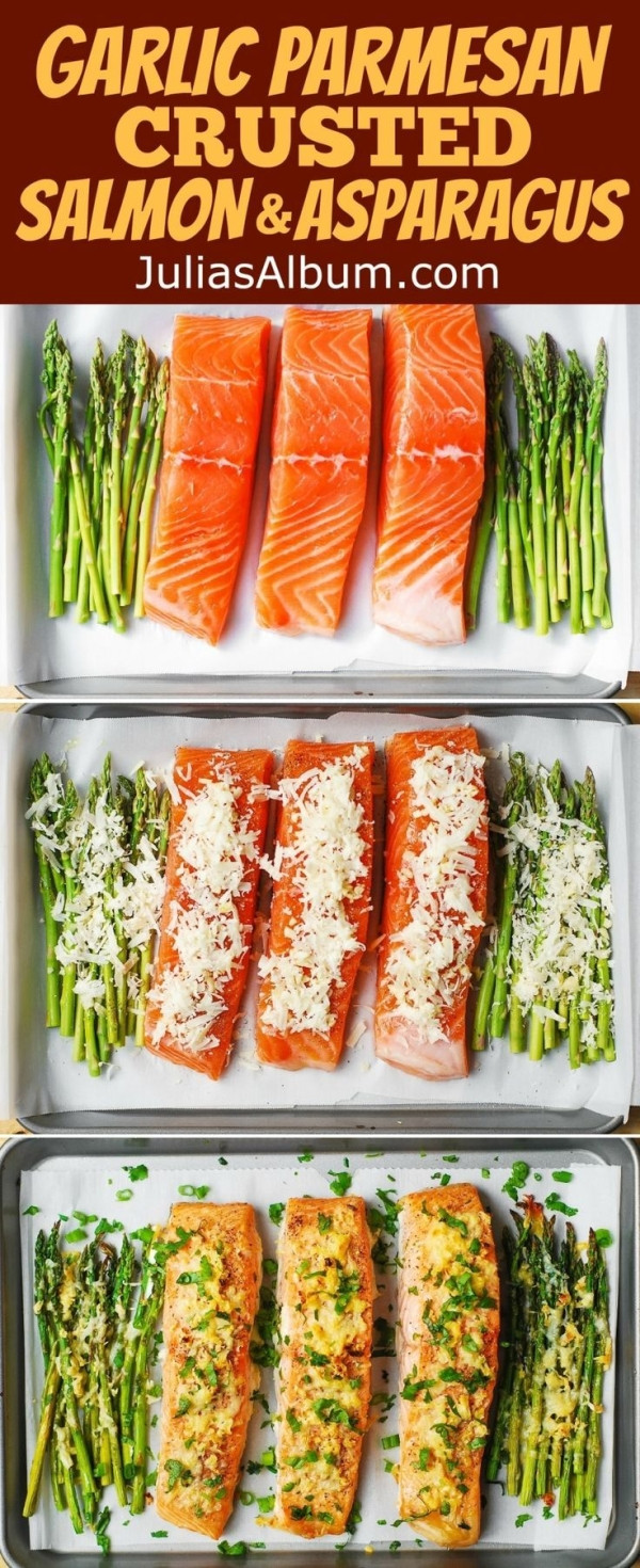 Easy Healthy Fish Recipes  Garlic Parmesan Crusted Salmon and Asparagus easy