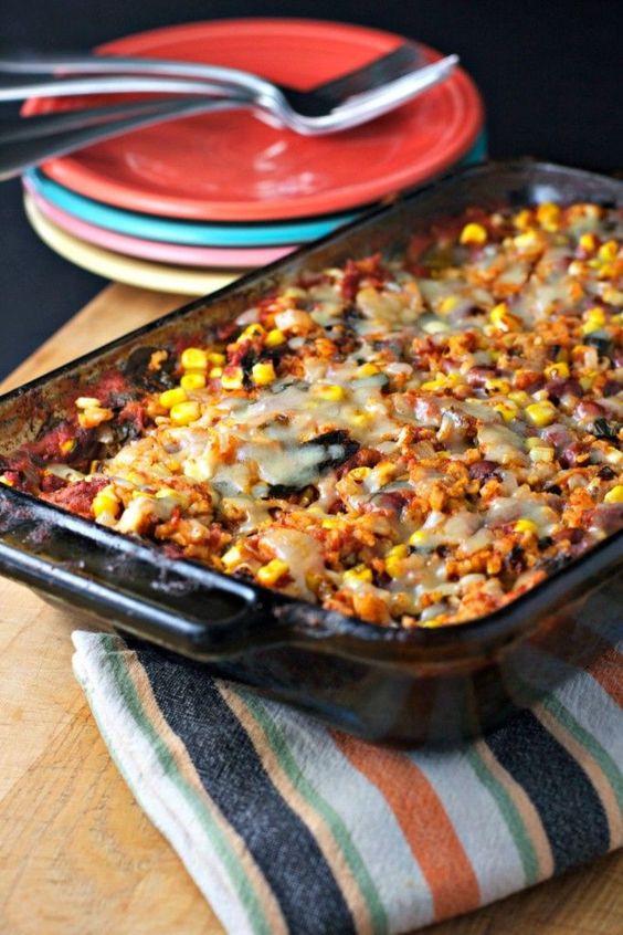 Easy Healthy Gluten Free Recipes  Rice and bean casserole vegan gluten free