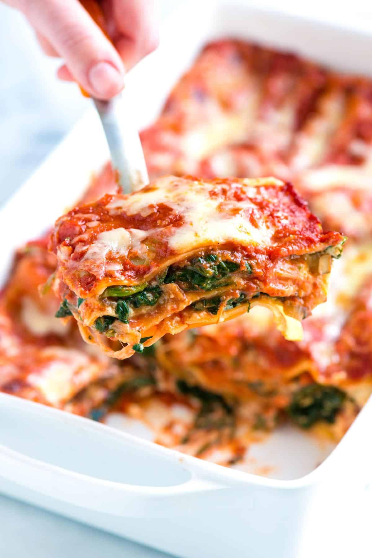 Easy Healthy Lasagna Recipe  Healthier Spinach Lasagna Recipe with Mushrooms