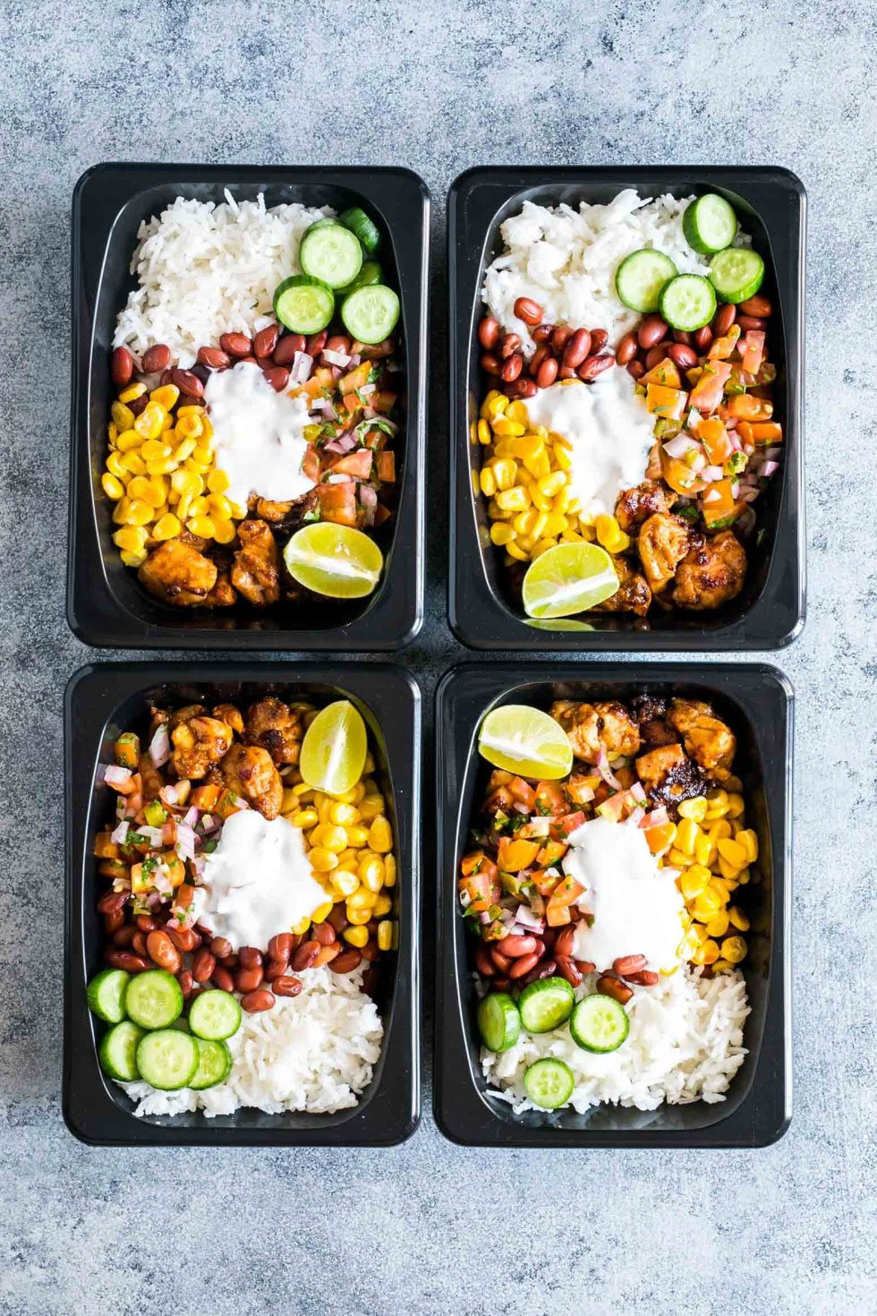 Easy Healthy Lunches To Go  Easy Chicken Burrito Meal Prep Bowls Gluten Free My