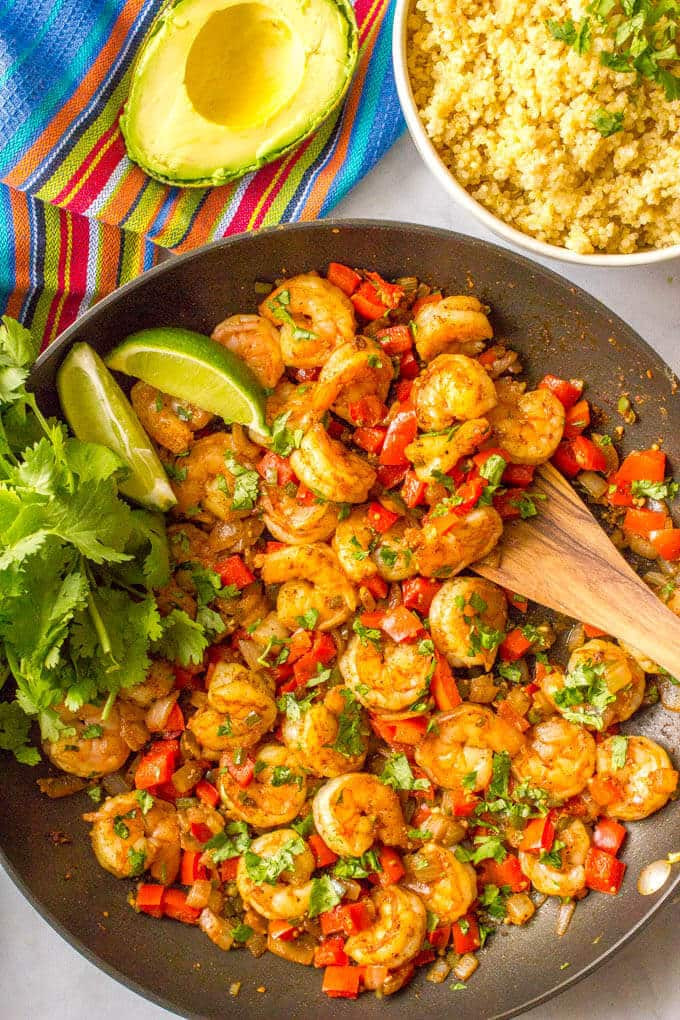 Easy Healthy Mexican Recipes  Quick easy Mexican shrimp skillet video Family