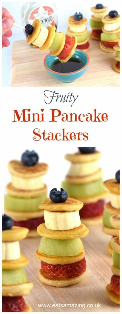 Easy Healthy Pancakes  Easy fruity mini pancake stackers – kids will love these