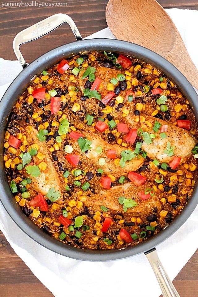 Easy Healthy Quinoa Recipes  e Pan Southwest Chicken & Quinoa Recipe Yummy Healthy Easy