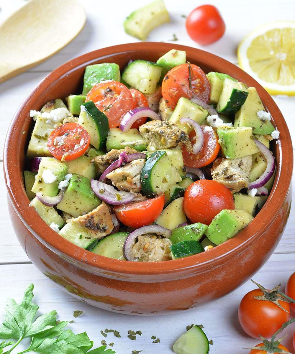 Easy Healthy Salads  Healthy Chicken Cucumber Tomato and Avocado Salad OMG